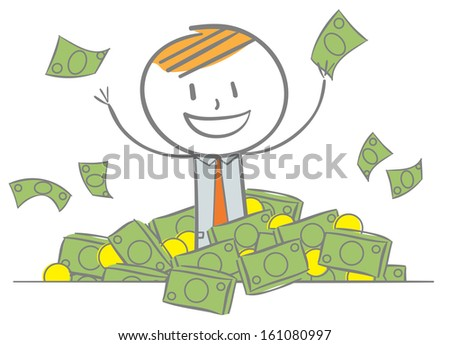 Doodle stick figure: Businessman with pile of money - stock vector