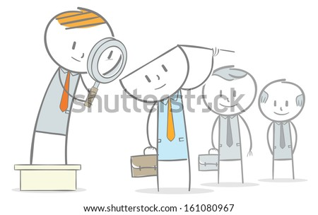 Doodle stick figure:Group of employee being inspected - stock vector