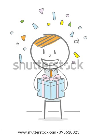 Doodle stick figure holding a gift box - stock vector