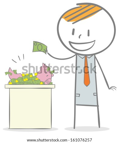 Doodle stick figure: Investment concept. Taking money from a piggy bank. - stock vector