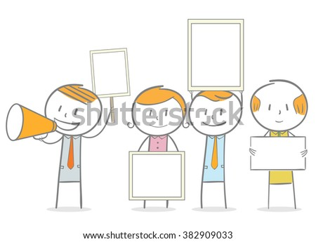 Doodle stick figure: People holding sign and banner. Demonstration. - stock vector