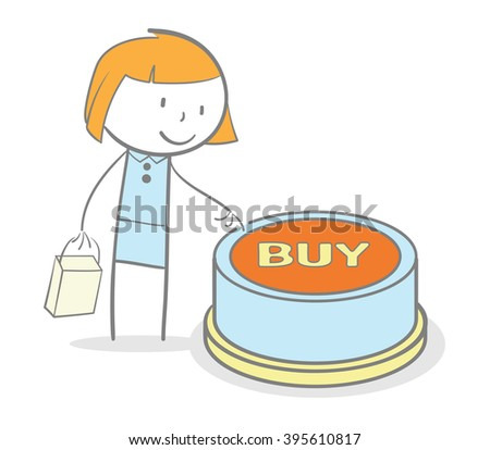 Doodle stick figure pushing buy internet button - stock vector