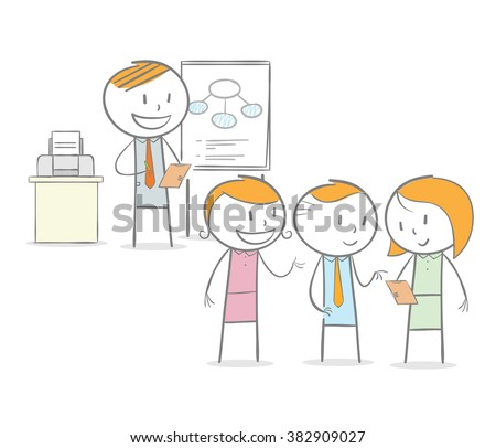 Doodle stick figure: Teacher giving a lessons to student in a discussion - stock vector