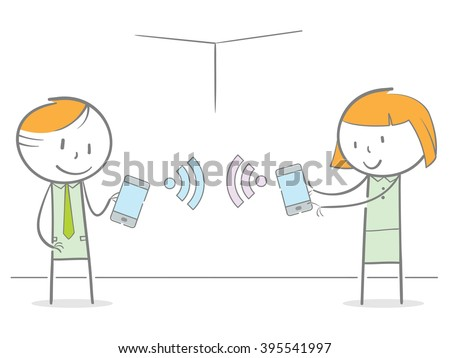 Doodle stick figures connect their phone to each other via wifi - stock vector