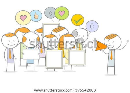 Doodle stick figures in a demonstration - stock vector