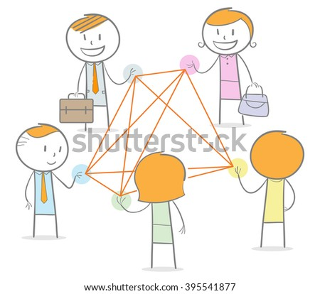 Doodle stick figures in a networking circle connected by straight thread - stock vector