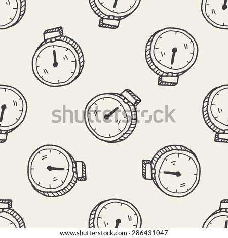 doodle stopwatch - stock vector
