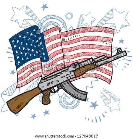 Doodle style America loves assault rifles and weapons illustration in vector format.  Includes  gun and American flag. - stock vector