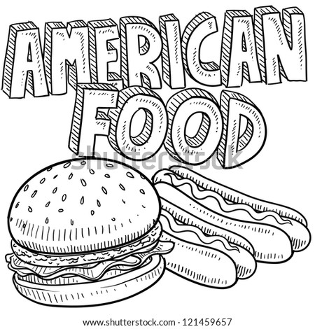 Doodle style American food vector sketch including hamburger, hot dog, and text message. - stock vector