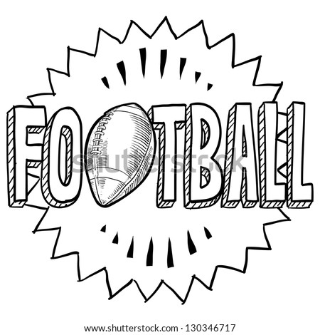 Doodle style American football illustration in vector format. Includes text and ball. - stock vector