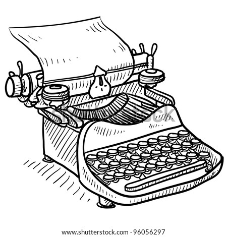 Doodle style antique manual typewriter vector illustration - stock vector