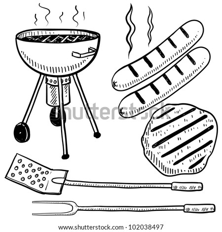 Doodle style backyard cookout or grill gear in vector format.  Set includes charcoal grill, hot dog, hamburger, spatula, and fork. - stock vector
