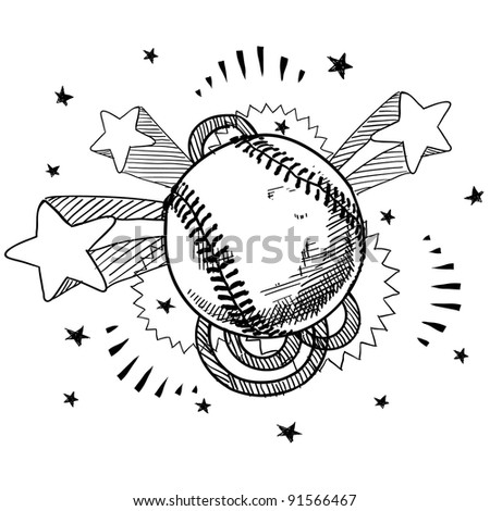 Doodle style baseball illustration in vector format with retro 1970s pop background - stock vector