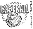 Doodle style baseball sports illustration in vector format.  Includes ball, glove or mitt, and title text. - stock vector