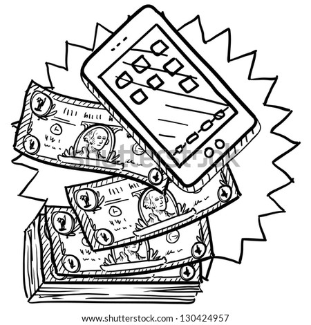 Doodle style cell phones or mobile devices are expensive illustration in vector format.  Includes smartphone and pile of money. - stock vector