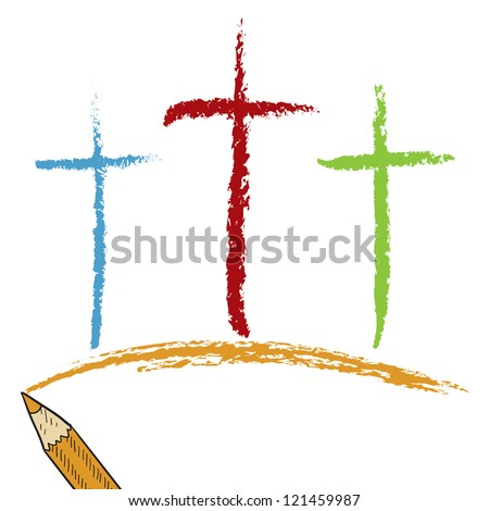 Doodle style Christian Calvary crosses sketch in vector format.  Looks like colored pencil.  Useful for Easter designs. - stock vector