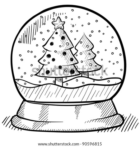 Doodle style Christmas snow globe illustration in vector format - stock vector