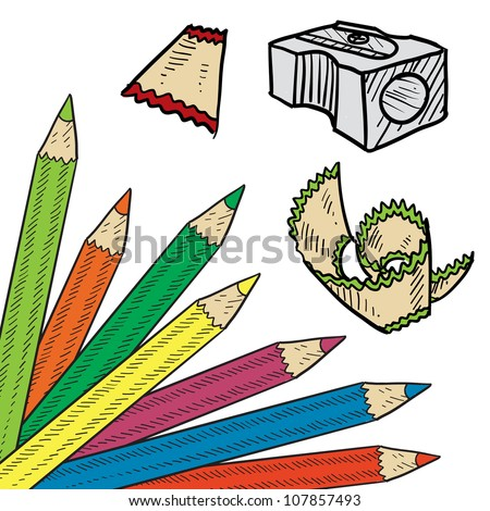 Doodle style colored pencil corner background sketch in vector format. Set includes corner tab, pencil sharpener, and shavings. - stock vector