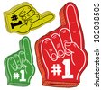 Doodle style colorful foam fingers used at stadiums and ballparks to cheer on your team. Vector file. - stock vector