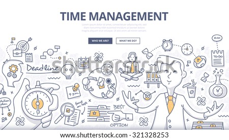 Doodle style concept of effective businessman who plans and organizes working time, deals deadlines, achieves goals. Modern line style illustration for web banners, hero images, printed materials - stock vector