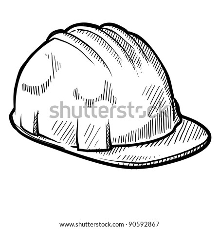 Doodle style construction worker safety hardhat in vector format - stock vector