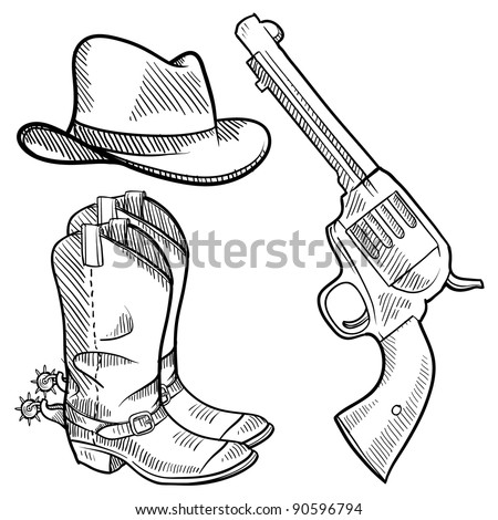 Western Six Shooters Drawing Doodle Style Cowboy Objects