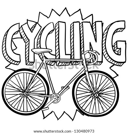 Doodle style cycling sports illustration.  Includes text and bicycle. - stock vector