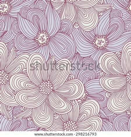 Doodle style flowers seamless pattern. Hand drawn floral textile background for your design. Fashionable summer print. Vector illustration - stock vector