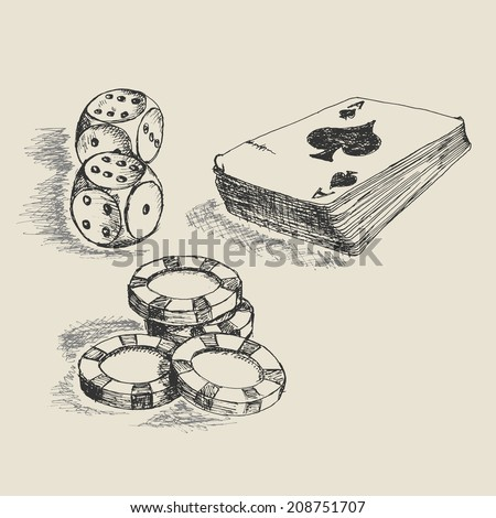 Doodle style gambling vector illustration with playing cards, dice, and poker chips - stock vector