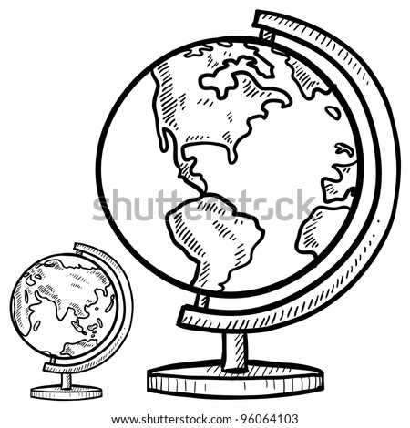 Doodle style globe illustration in vector format - stock vector