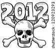 Doodle style Goodbye 2012 New Year's Eve sketch in vector format.  Includes 2012 text and skull and crossbones. - stock vector