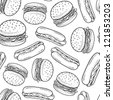 Doodle style hamburger and hot dog backyard barbecue seamless vector background. - stock vector