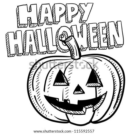 Doodle style Happy Halloween jack-o-lantern illustration in vector format. - stock vector