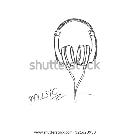 Doodle, style, headphones, vector, illustration, musical,  - stock vector