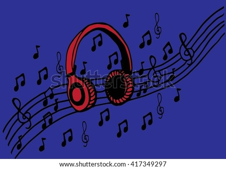 Doodle style headphones vector illustration with musical notes, hand drawing - stock vector
