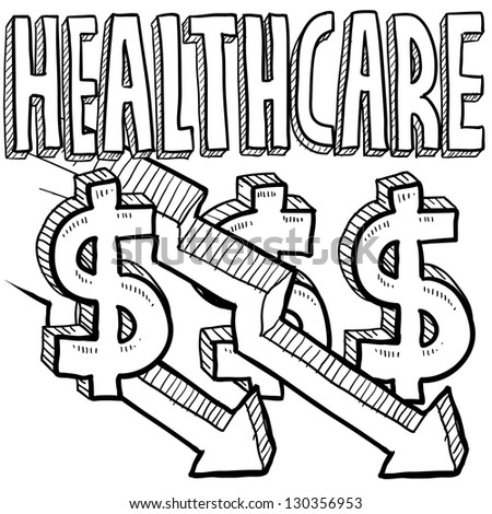 Doodle style health care costs decreasing illustration in vector format.  Includes text, dollar signs, and down arrows. - stock vector