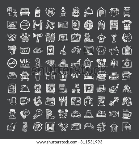 doodle style hotel icons  - stock vector