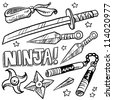 Doodle style illustration of ninja weapons including throwing knives, katana, shuriken, and nunchaku. Vector format. - stock vector