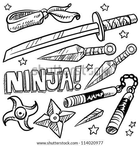 Doodle style illustration of ninja weapons including throwing knives, katana, shuriken, and nunchaku. Vector format. - stock vector