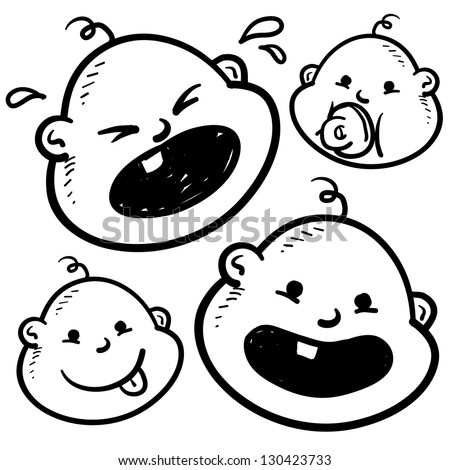 Doodle style infant or baby illustration in vector format.  Includes several looks, crying, smiling, with pacifier, and with tongue sticking out. - stock vector