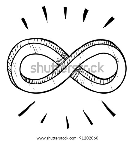 Doodle style infinity math symbol illustration in vector format suitable for web, print, or advertising use. - stock vector