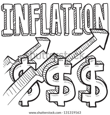 Doodle style inflation is increasing icon in vector format.  Includes text, up arrow, and dollar signs. - stock vector