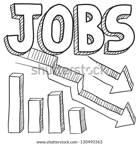Doodle style jobs decreasing or unemployment illustration in vector format.  Includes text and down arrow with bar graph. - stock vector