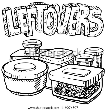 Doodle style leftovers in plastic containers illustration from holiday meals and text message.  Vector format. - stock vector