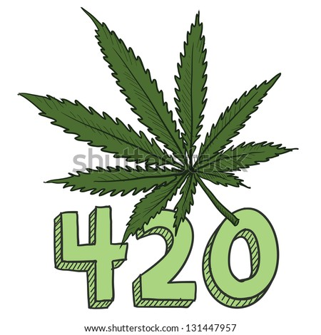 Doodle style 420 marijuana leaf sketch in vector format.  Includes text and pot plant. - stock vector