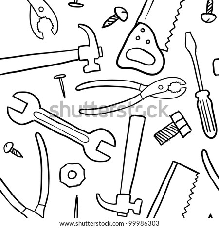 Doodle style mechanic, carpenter or handyman tool background - seamless and ready to be tiled in vector format. - stock vector