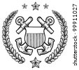 Doodle style military rank insignia for US Navy including crossed anchors surrounded by wreath - stock vector
