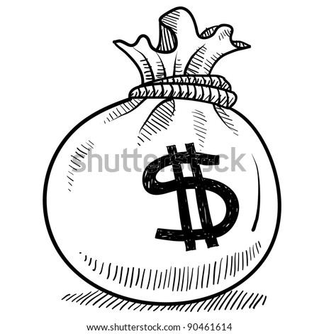 Doodle style money bag finance and business vector illustration - stock vector