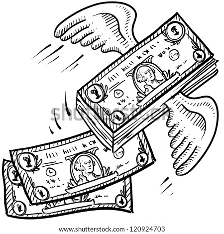 Doodle style money taking off sketch.  Indicates inflation, investment growth, or that business is booming.  Vector format. - stock vector