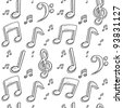 Doodle style musical notes seamless background pattern sketch in vector format - stock vector